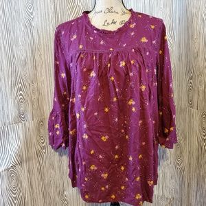 Old Navy maroon bell sleeve floral tunic top nwt